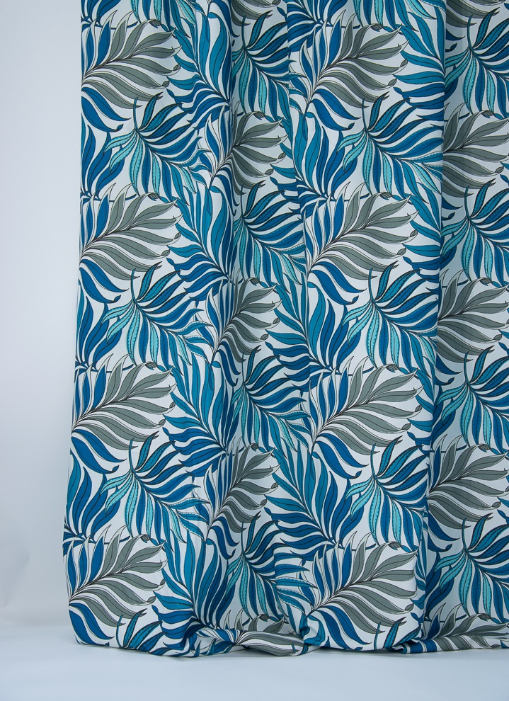Blue leaves curtains fabric