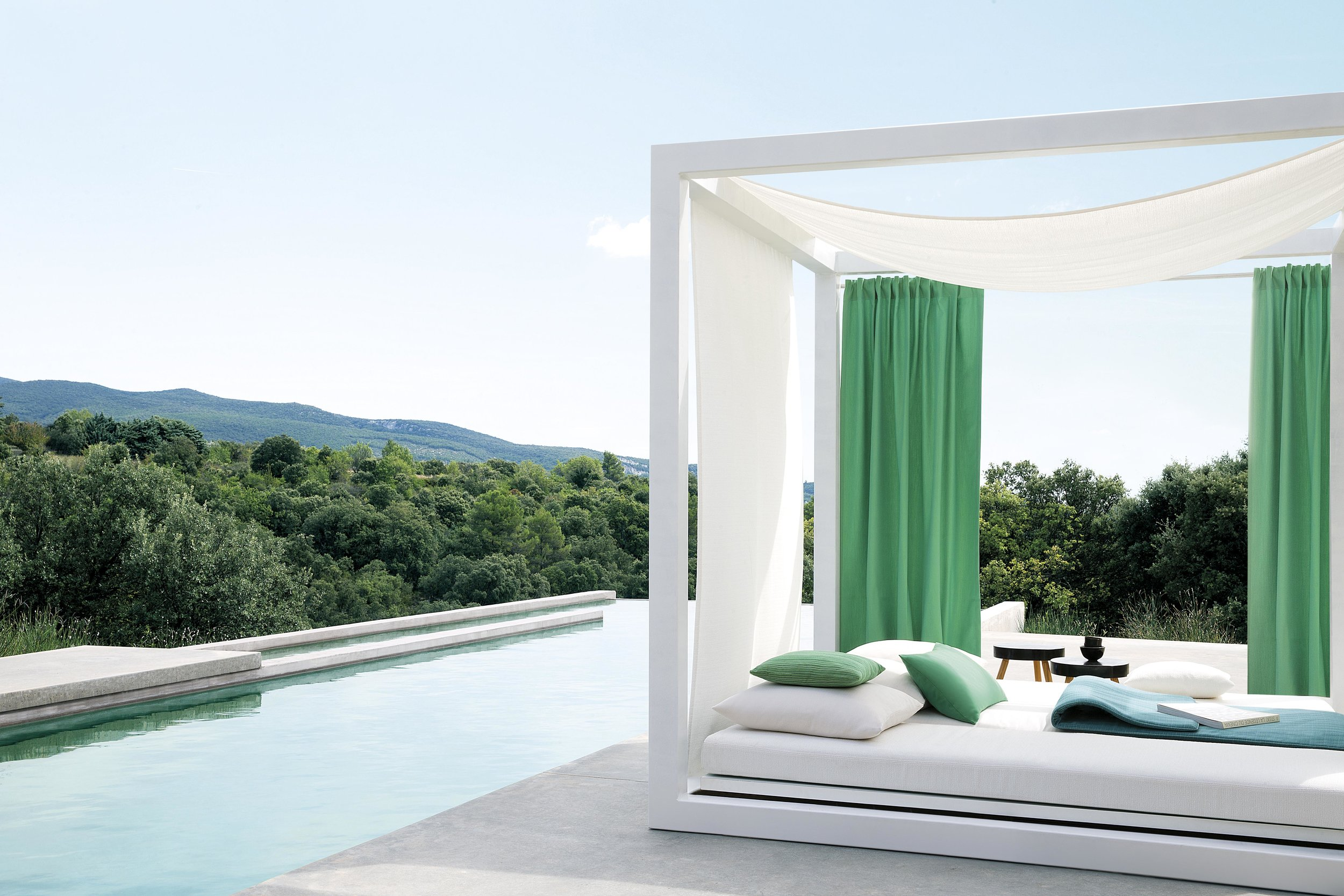 green outdoor fabrics for curtains