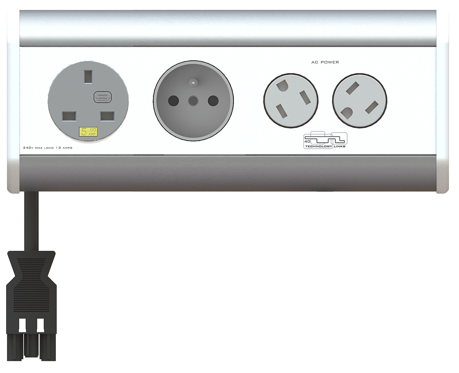 Desktop Connectivity Unit UK Europe Schuko Power Socket