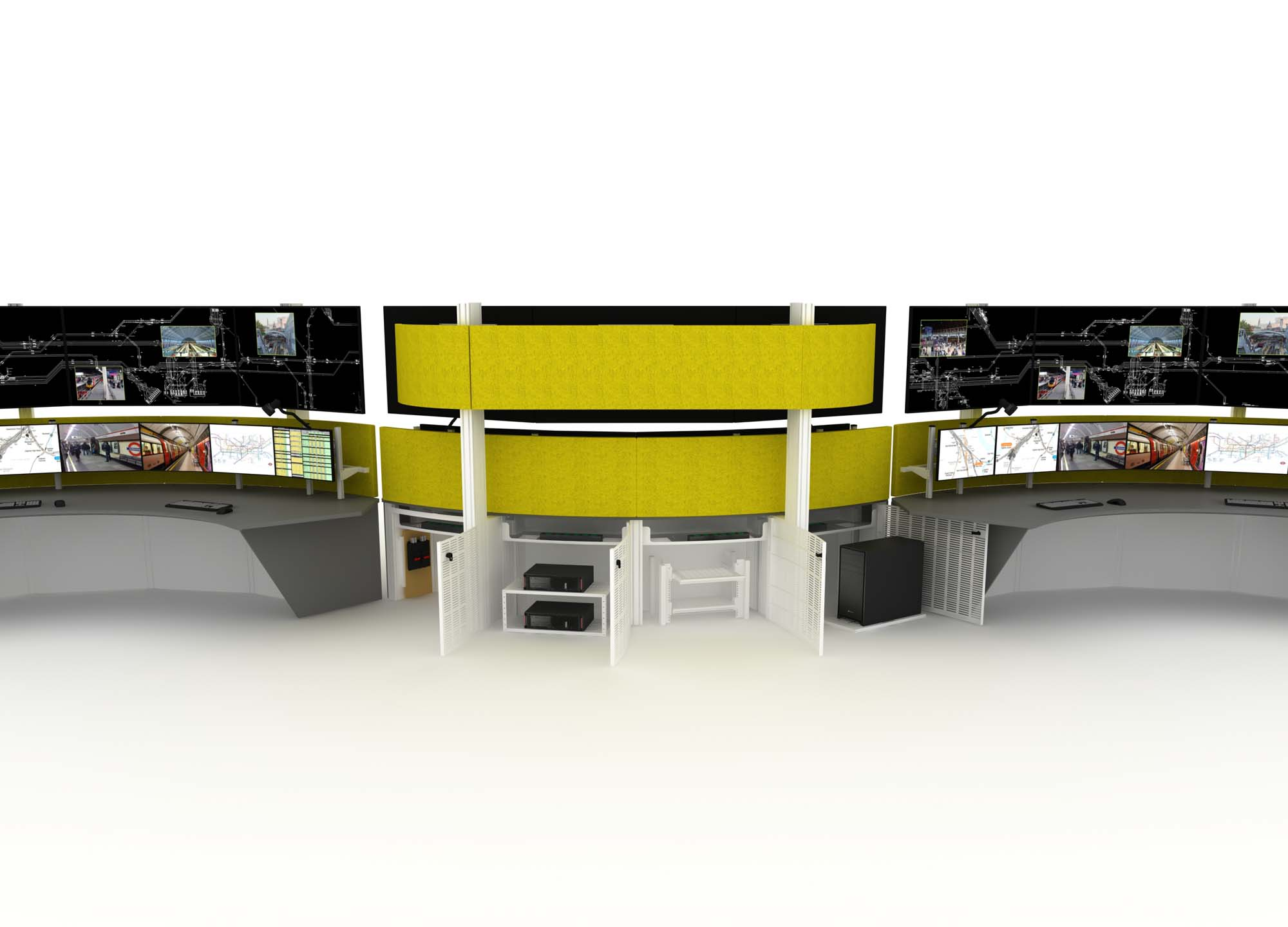 Ergonomic Security Desk Furniture in a Control Room including Technology Integration capability