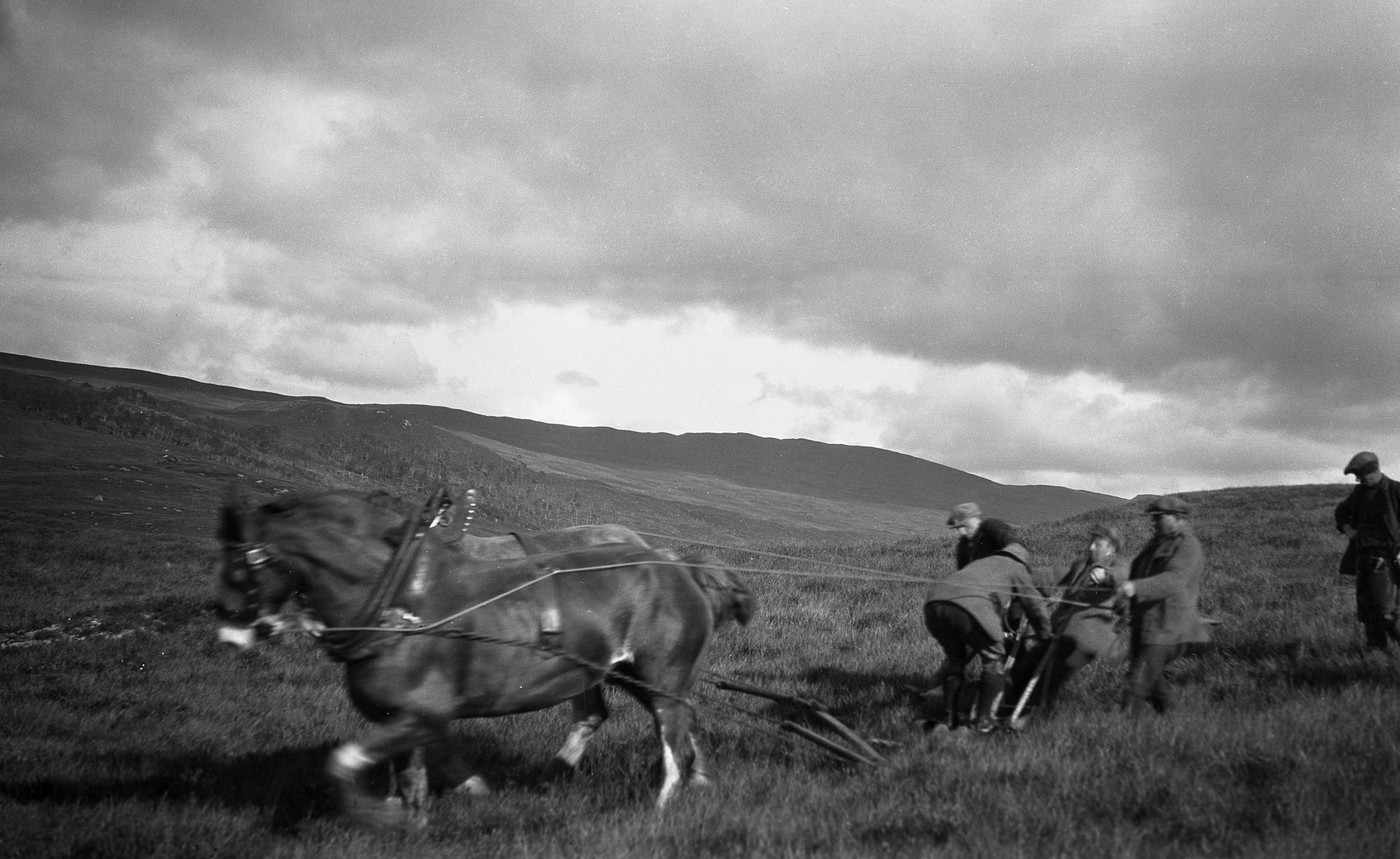 Trial ploughing at Lon Mor Forest Research Area, Fort Augustus, 1927 (Photo:  Forestry Memories )