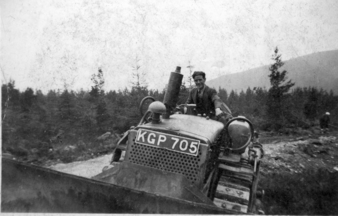 Bulldozer on forest road, 1954