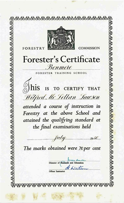Forestry certificate, 1950