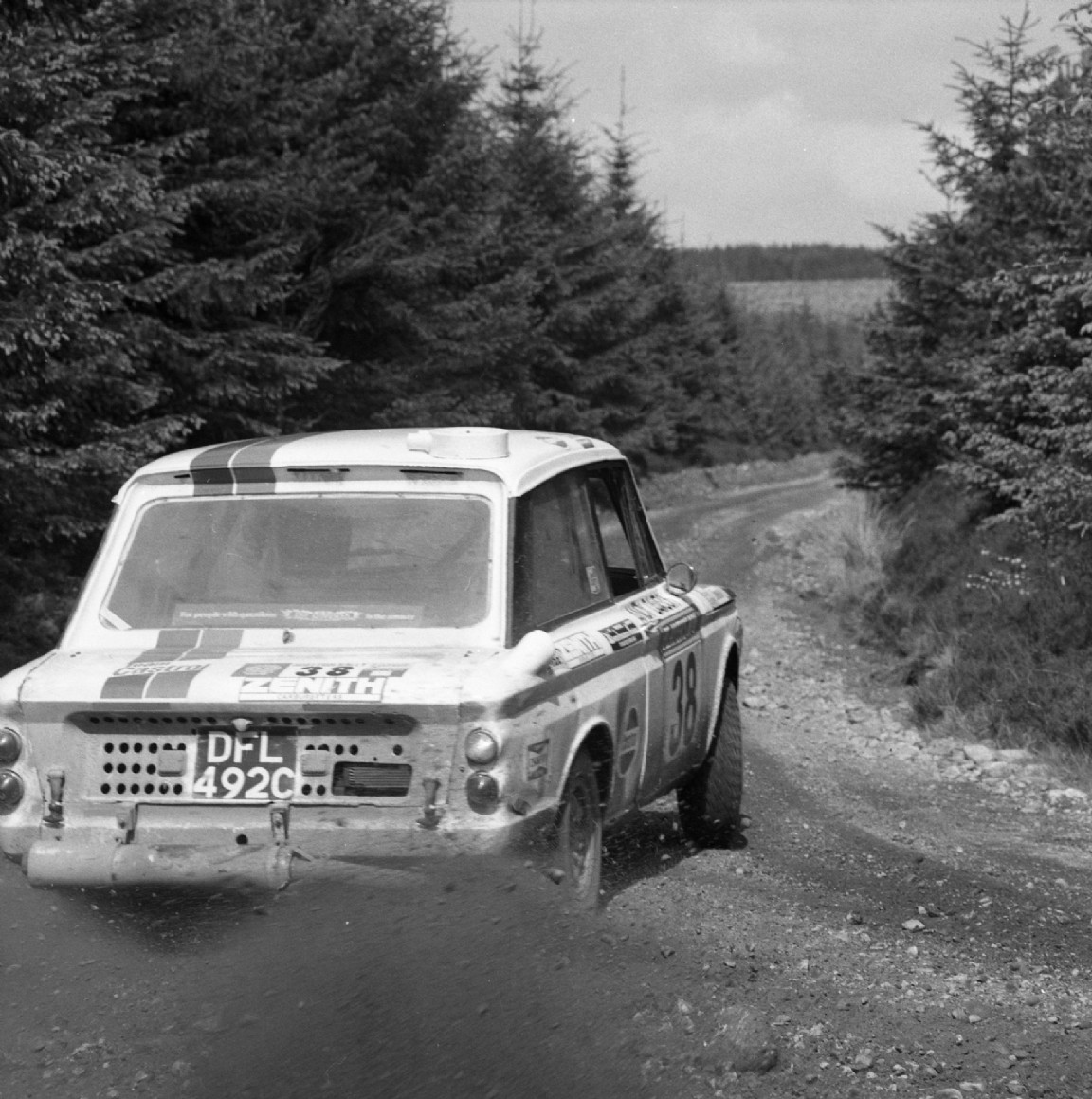 Rally car on forest road, 1973