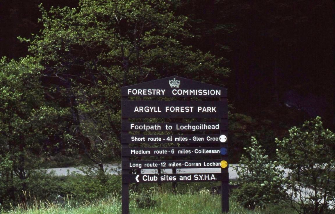 Sign at Argyll Forest Park entrance, 1976