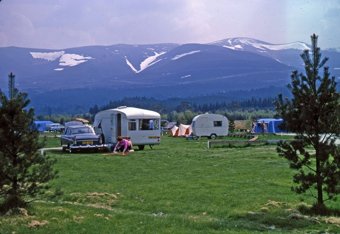This campsite at Glenmore in the Highlands was popular in the 1970s.