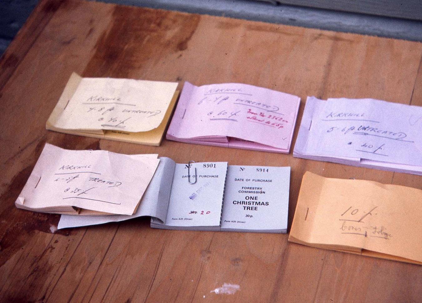 Christmas tree receipts, 1971