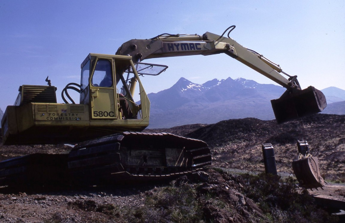 Hymac excavator, Skye, 1980