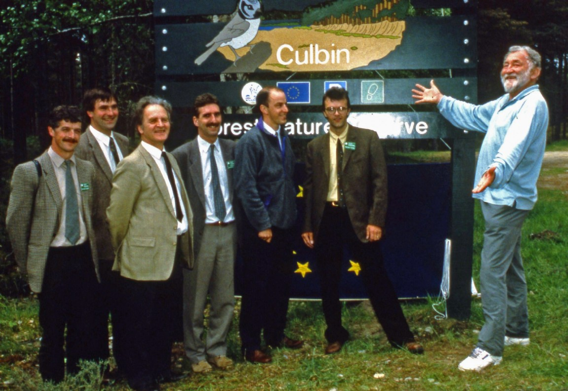Celebrity wildlife expert David Bellamy attends the public opening of new trails at Culbin Forest, 1999