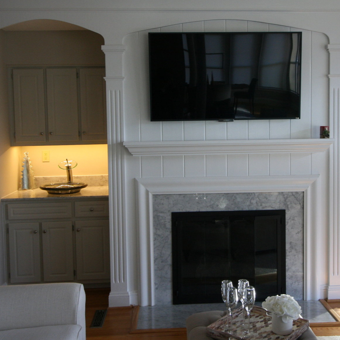 Wet bar and updated mantel