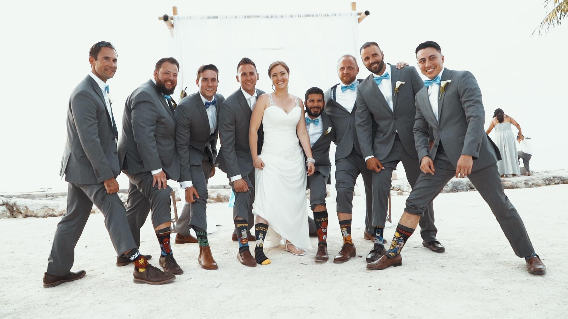 Bride and her groomsmen florida keys