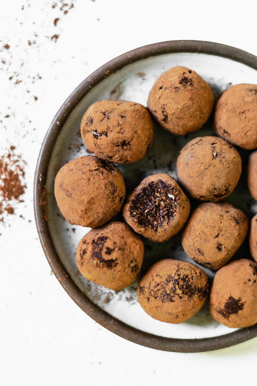 Chocolate Protein Balls (dairy-free, refined sugar-free) - Ingredients1 cup pitted dates1 cup sprouted oats1/2 cup walnuts2 Tbsp caco powder1/2 Tbsp maca powder2 Tbsp chia seeds1-2 scoops protein powder of choice (I used this one)splash of water