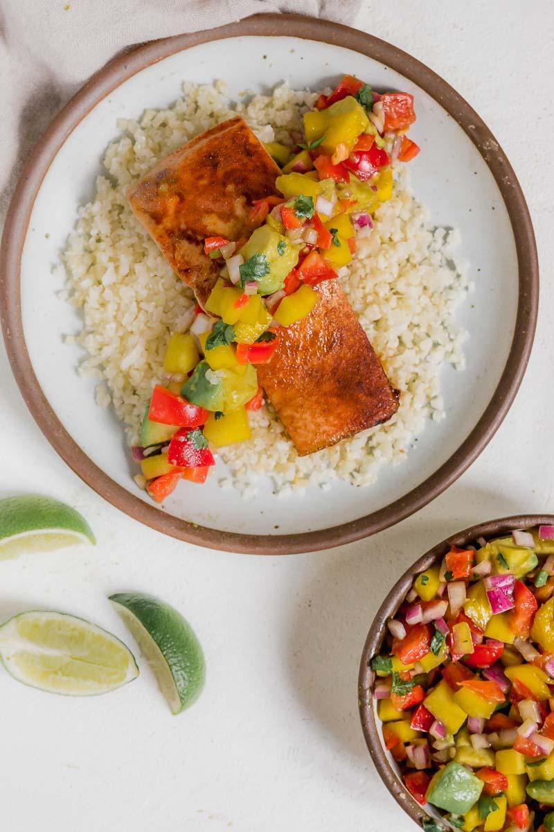 Salmon Cauliflower Rice with Avocado Mango Salsa- The Fit Peach
