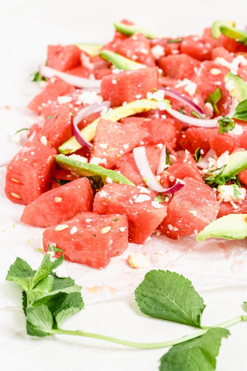 Healthy Watermelon Salad | The Fit Peach
