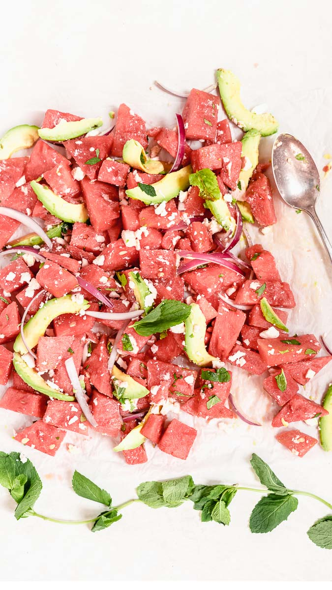 Avocado and Mint Watermelon Salad | The Fit Peach