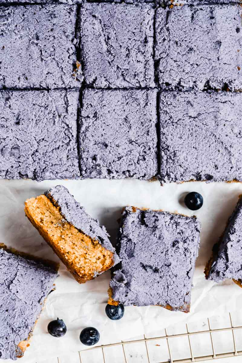 Blueberry Paleo Sheet Cake - The Fit Peach