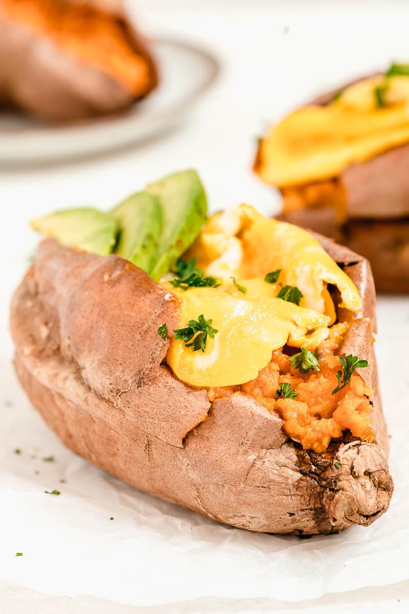 Breakfast Loaded Sweet Potato - The Fit Peach