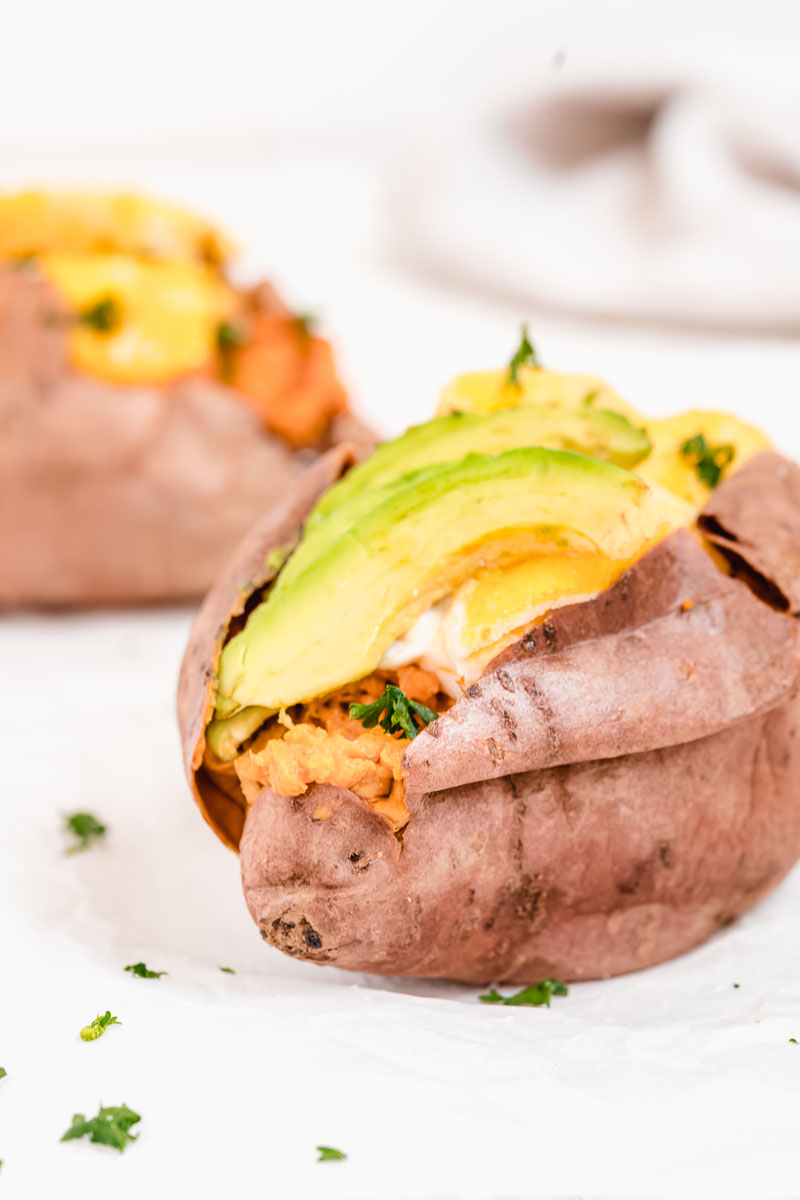 Egg and Avocado Stuffed Sweet Potato - The Fit Peach