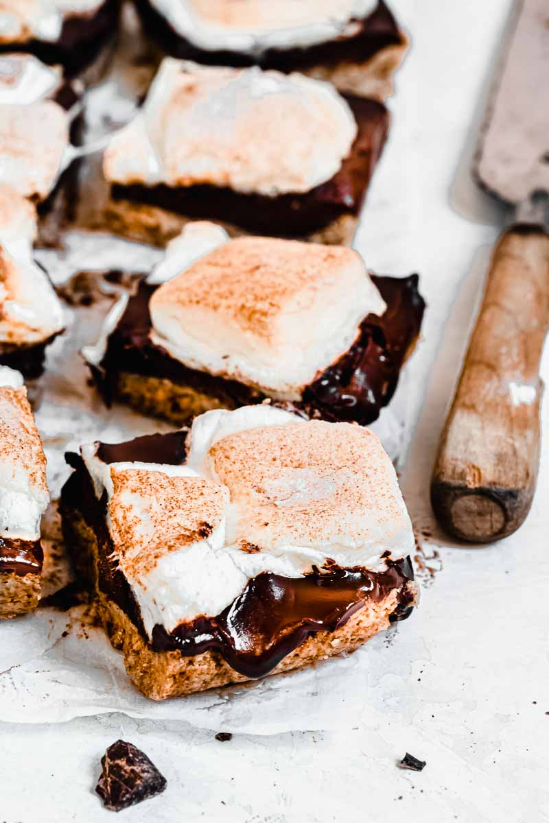 Healthy Chocolate S'mores Bars - plant-based, dairy-free, gluten-free