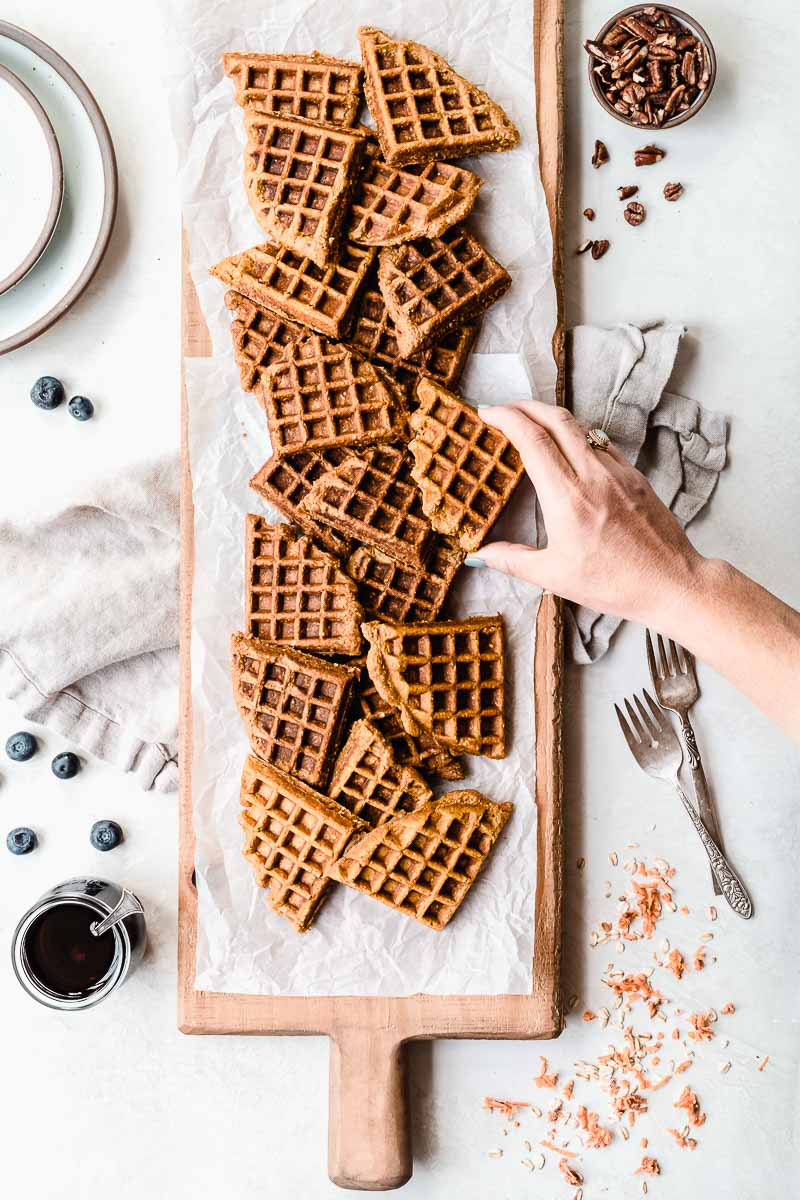 Healthy Sweet Potato Waffles - The Fit Peach