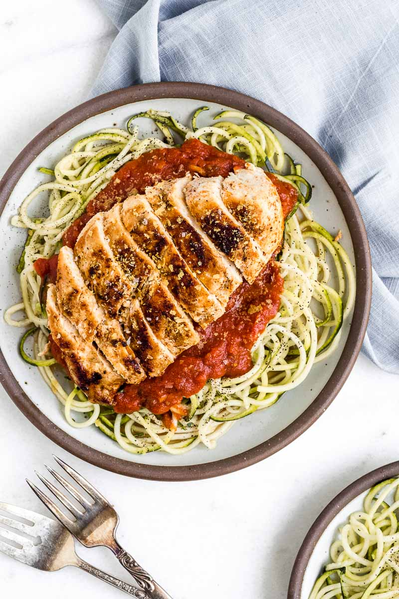 Easy Chicken Zoodle Marinara - The Fit Peach