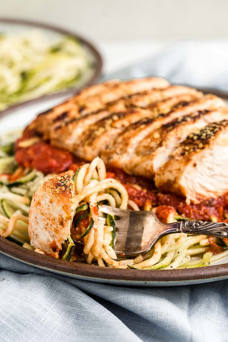 Easy Gluten-Free Chicken Zoodle Marinara - The Fit Peach