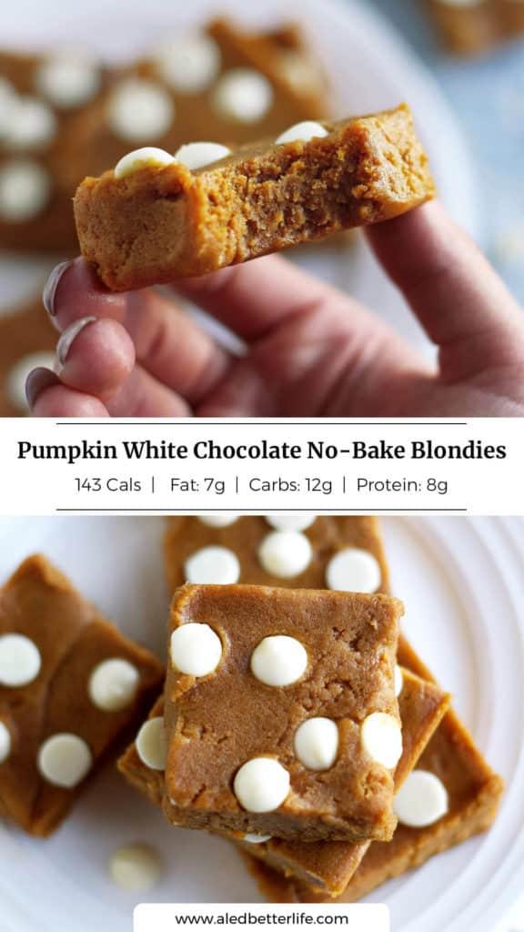 Pumpkin White Chocolate No Bake Blondies