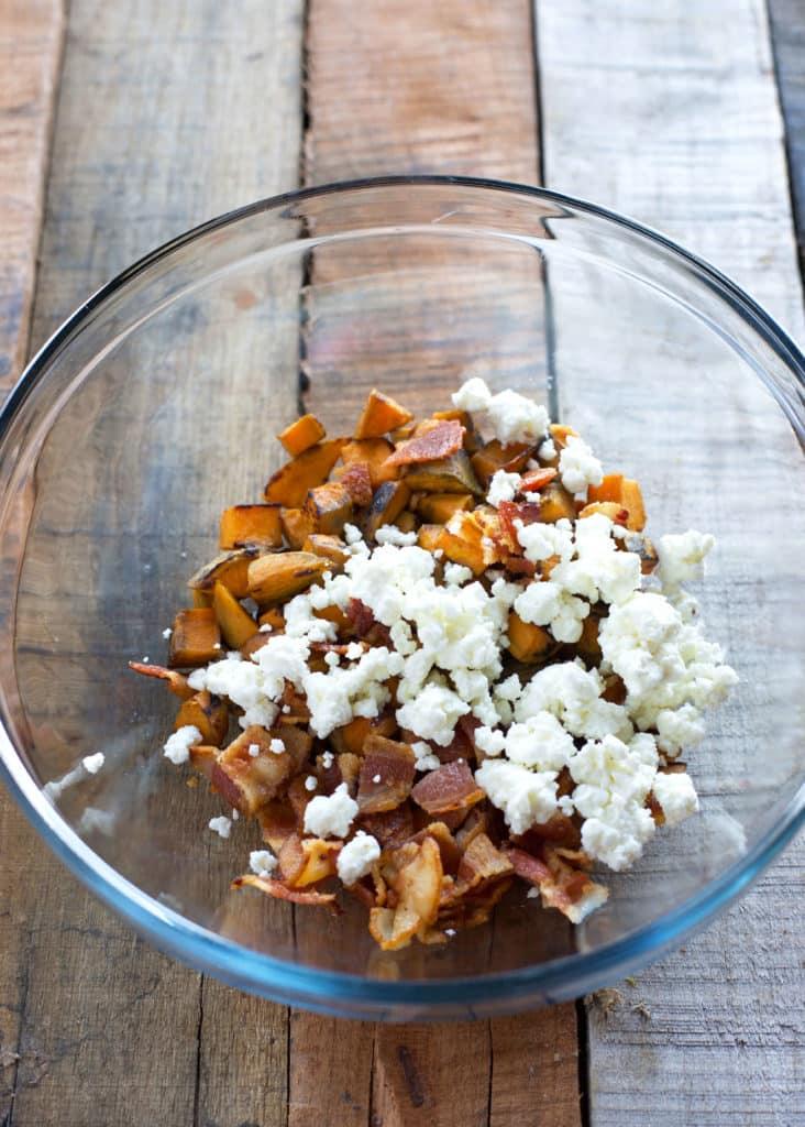 Sweet Potato, Goat Cheese, and Bacon Frittata