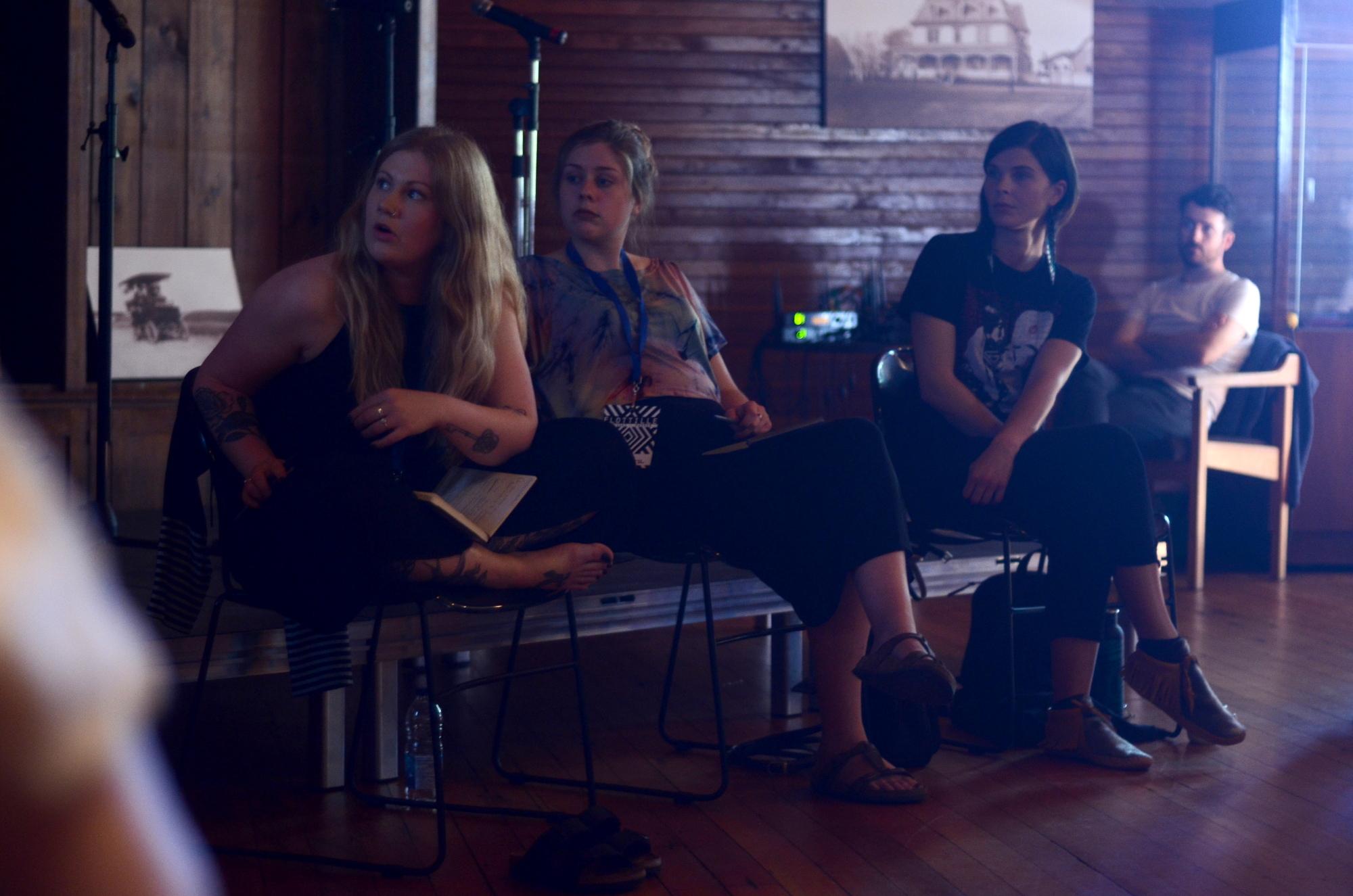 Left to right: Vivan Ross-Smith, Jane Walker, Meagan Musseau. Photo: Will Baker.