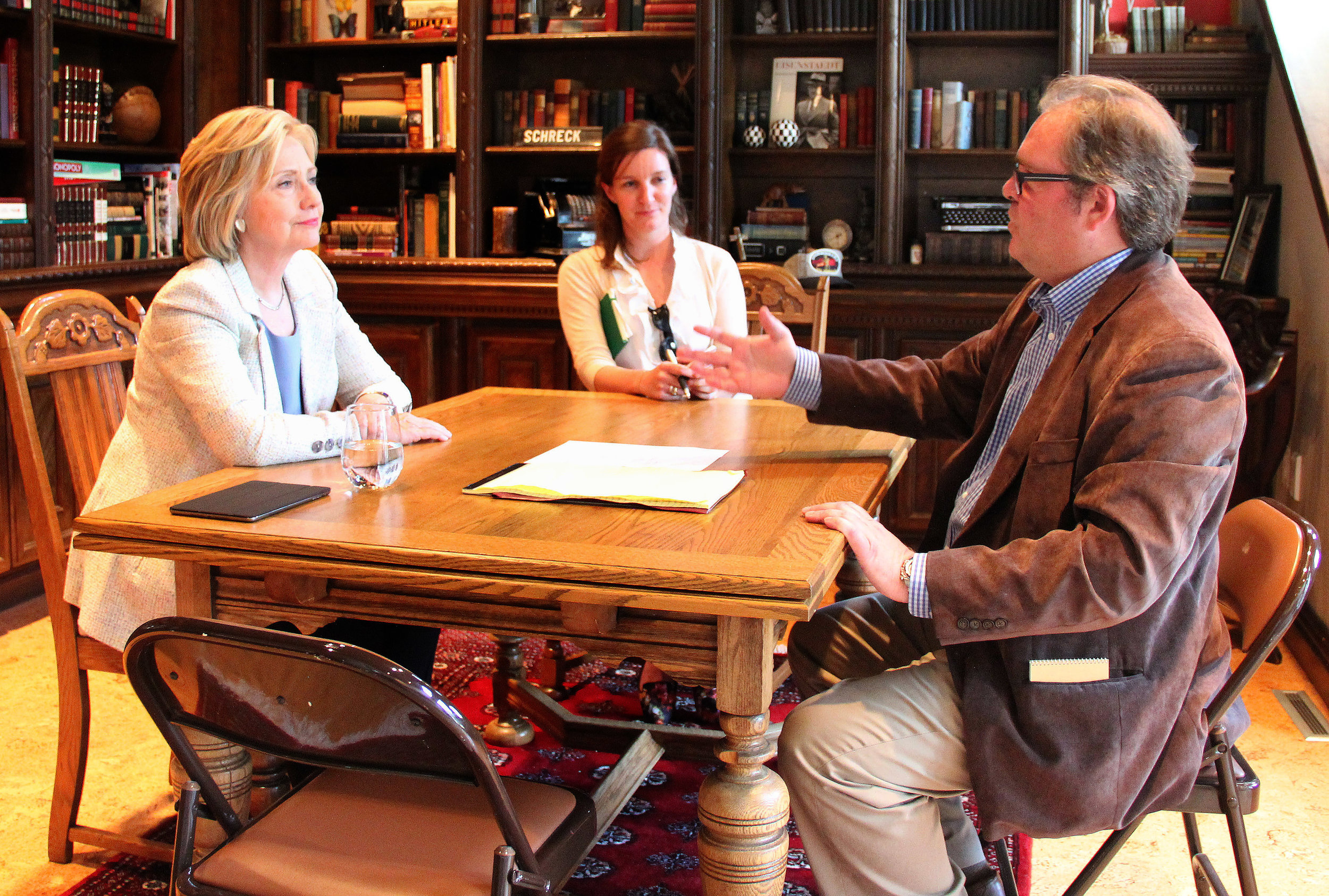 Daily Times Herald Co-owner Douglas Burns interviews 2016 democratic presidential candidate hillary clinton in Carroll, iowa at the home of dr. steve Kraus.