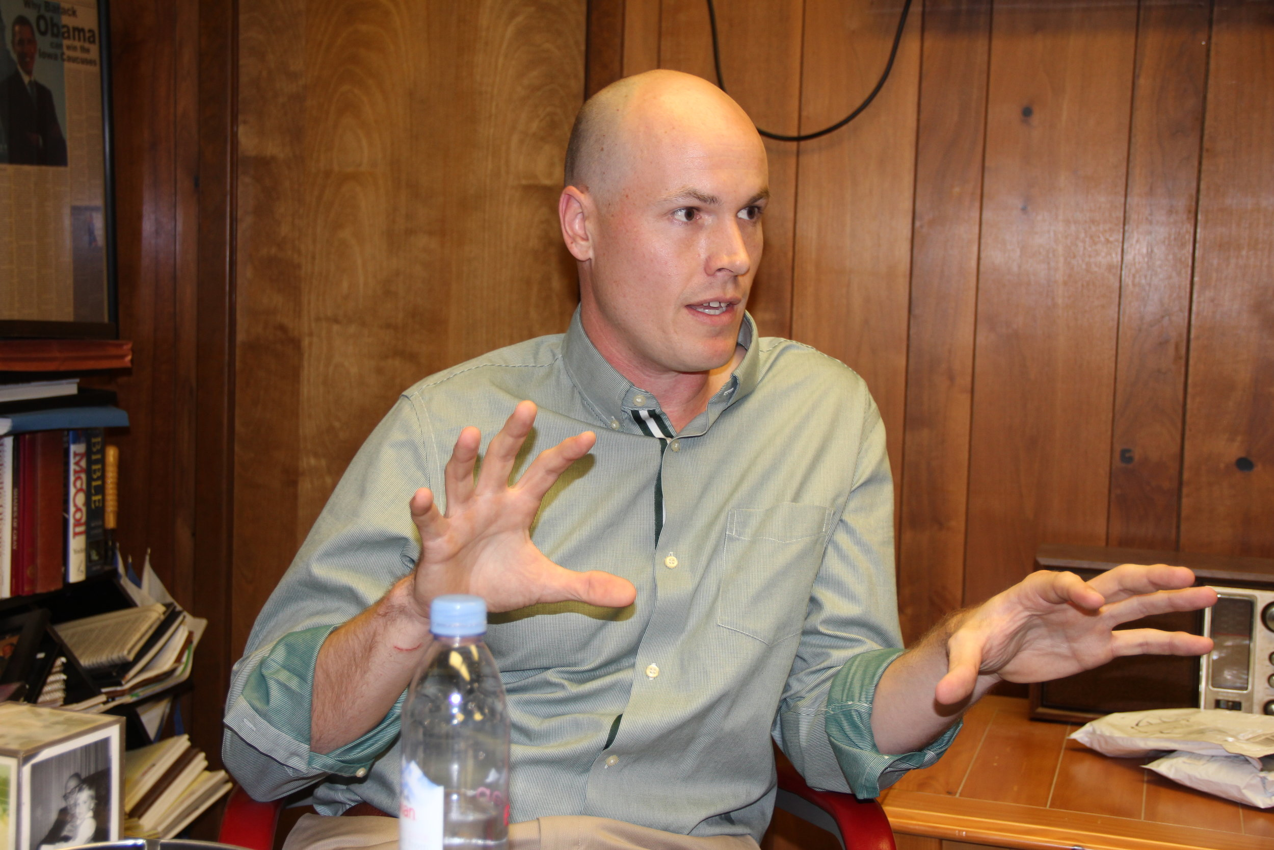 J.D. Scholten talks with the Carroll Daily Times Herald during the 2018 election.