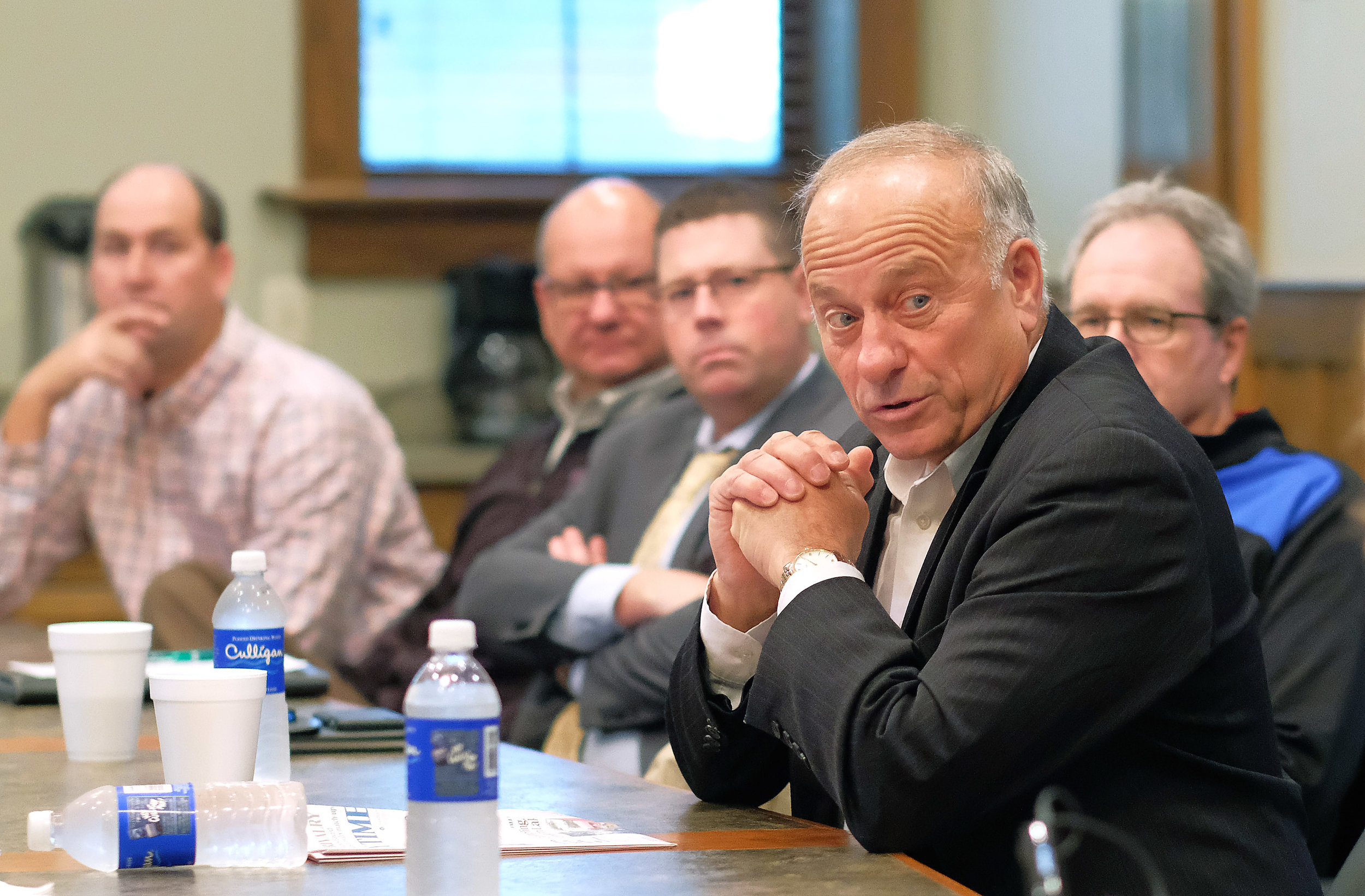 Congressman Steve King speaking to constituents in 2018.