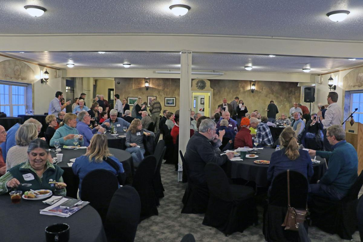 About 70 people showed up to the Summerset Winery in Indianola Feb. 18 to hear Rep. Eric Swalwell speak and to raise money for local Democrats.  PAIGE GODDEN / Indianola Independent Advocate