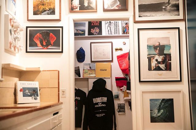 This image is looking from Room 5 into the gift shop. The gift shop is modeled after a thrasher kid's closet. The shop was comprised of Los Angeles / CA brands of fashion and rare printables.