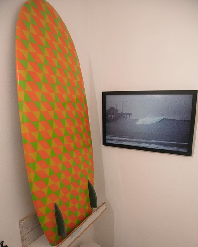 """The left side of the image is of a Barry McGee pattern kneeboard. The image to the right is by Josh """"Bagel"""" Klassman. The image is taken right before the bathroom on the Venice pier broke off and washed into the ocean during a huge winter swell December 1985. @jbk_photos @barrymcgeeart"""