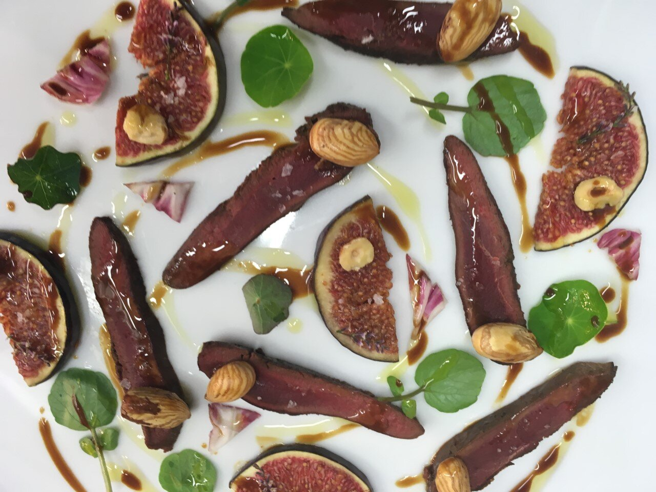 Wood pigeon, black figs, hazels and cobnuts, Carosesa butter dressing