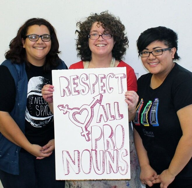 Libby (center) with CSUN students who completed her Protest Poster workshop