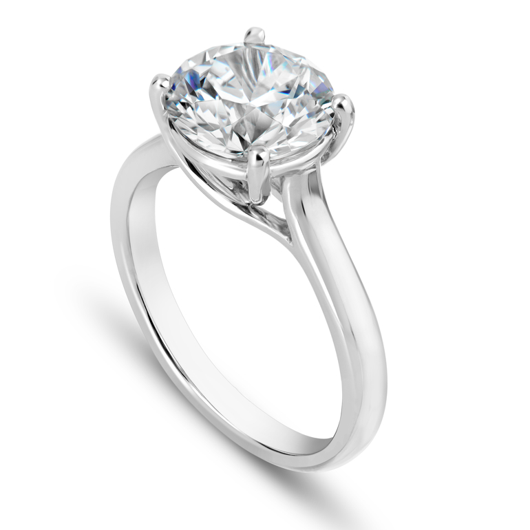 Solitaire - A single stone. Still the most popular choice in engagement rings. The head secures the diamond. Prongs allow the diamond to catch the most light. A four-prong-setting shows more of the diamond, but a six-prong setting is often more secure.