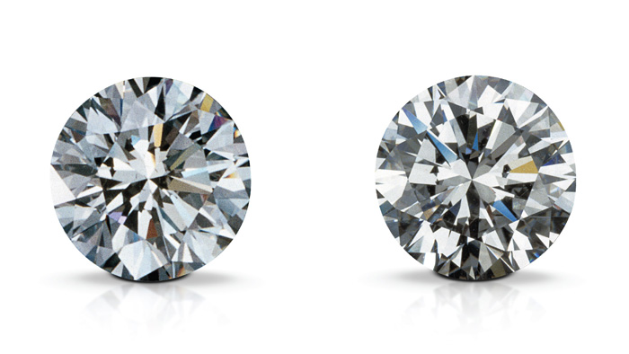 A synthetic diamond (left) and a natural diamond (right) can appear identical to the naked eye.