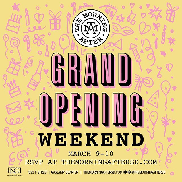 Are you ready to celebrate with us? 🎉Join us for our GRAND OPENING WEEKEND March 9 & 10! RSVP for a complimentary mimosa and make a reservation for your group at themorningaftersd.com. #themorningaftersd #grandopening #gaslampquarter