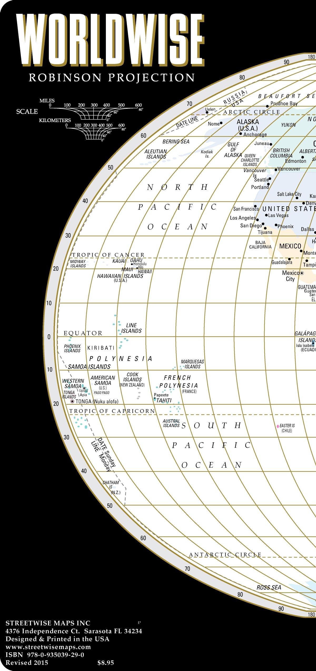 Laminated World map: Streetwise World Map - Laminated Time Zone Map of the World - WORLDWISE
