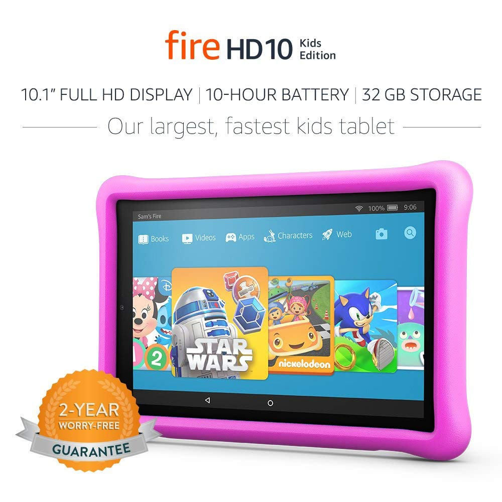 "Kindle Fire Tablet: Fire HD 10 Kids Edition Tablet, 10.1"" 1080p Full HD Display, 32 GB, Pink Kid-Proof Case"