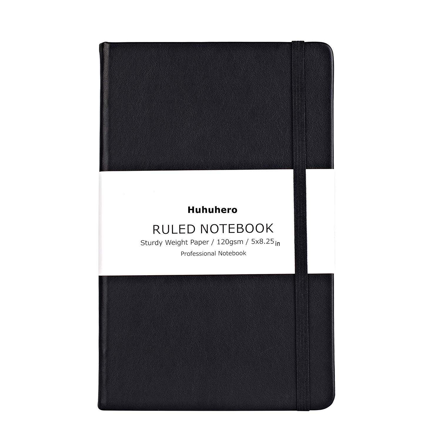 "Travel Journal: Huhuhero Notebook Journal, Classic Ruled Hard Cover, Premium Thick Paper with Fine Inner Pocket, Black Faux Leather for Journaling Writing Note Taking Diary and Planner, 5""×8.3"" (1)"