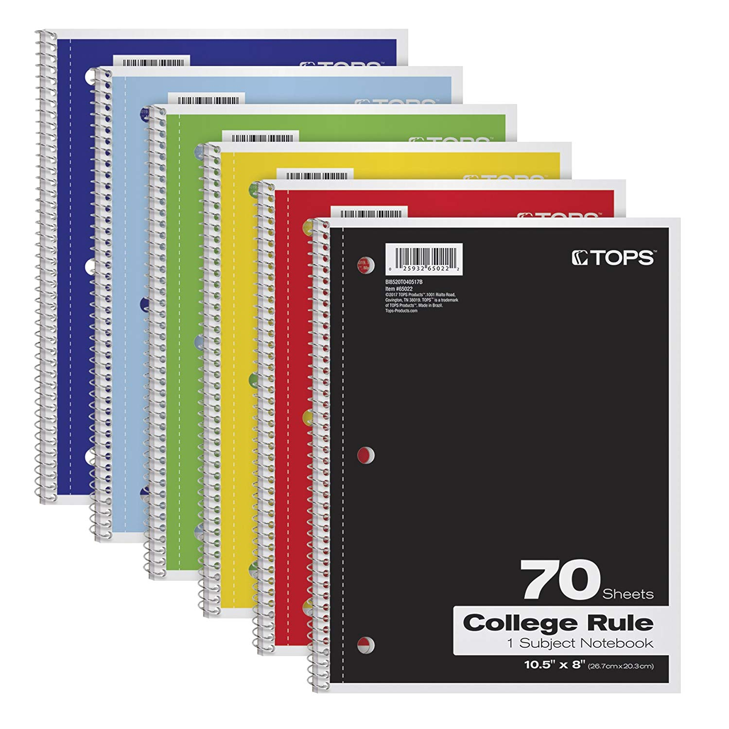 "Wide Ruled Notebooks: TOPS 1-Subject Notebooks, Spiral, 8"" x 10-1/2"", College Rule, Color Assortment May Vary, 70 Sheets, 6 Pack (65007)"