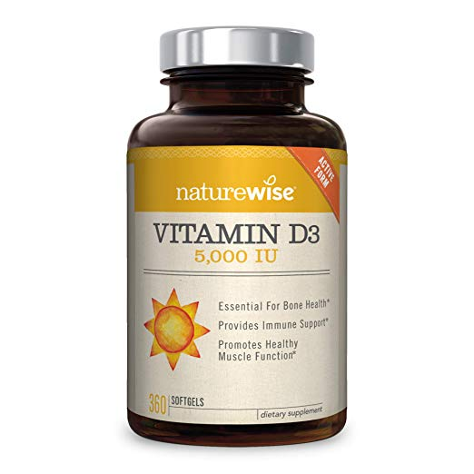 Vitamin D Supplement: NatureWise Vitamin D3 5,000 IU for Healthy Muscle Function, Bone Health and Immune Support, Non-GMO in Cold-Pressed Organic Olive Oil,Gluten-Free, 1-year supply, 360 count