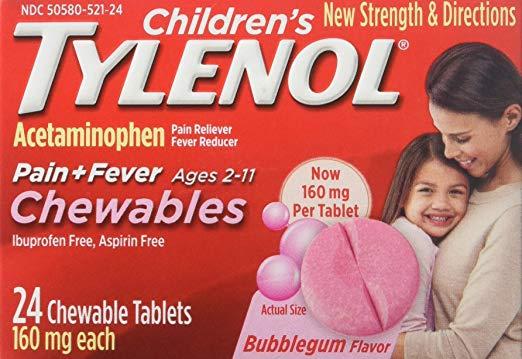 Chewable Tylenol: TYLENOL Children's Pain + Fever Chewables Tablets, Bubblegum 24 ea