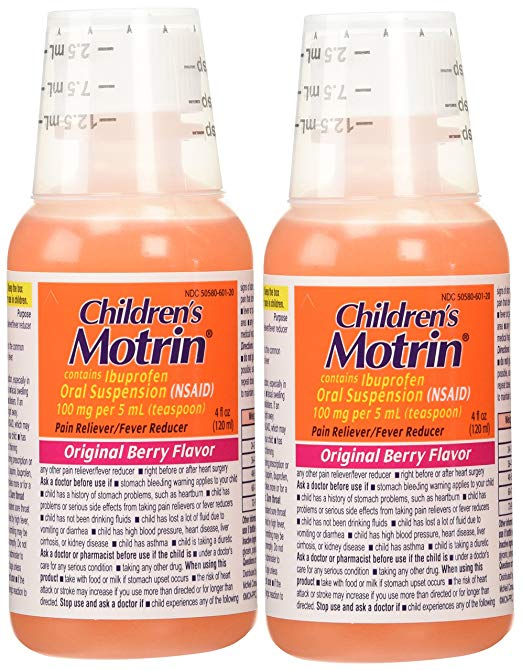 Children's Motrin: 2 Combo Pack Children's Motrin Ibuprofen Pain Fever Reliever Original Berry Flavor of 4 Oz