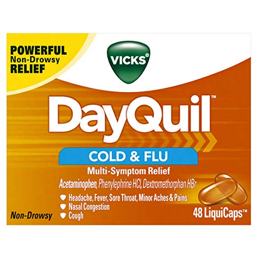 DayQuil: Vicks DayQuil Cold & Flu Multi-Symptom Relief, 48 LiquiCaps - #1 Pharmacist Recommended –Non-Drowsy, Daytime Sore Throat, Fever, and Congestion Relief