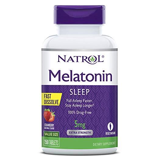 Melatonin 5mg: Natrol Melatonin Fast Dissolve Tablets, Strawberry Flavor, 5mg, 150 Count