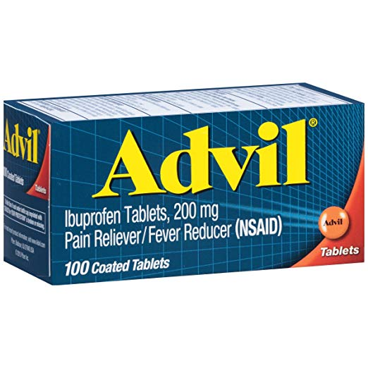 Advil: (100 Count) Pain Reliever / Fever Reducer Coated Tablet, 200mg Ibuprofen, Temporary Pain Relief